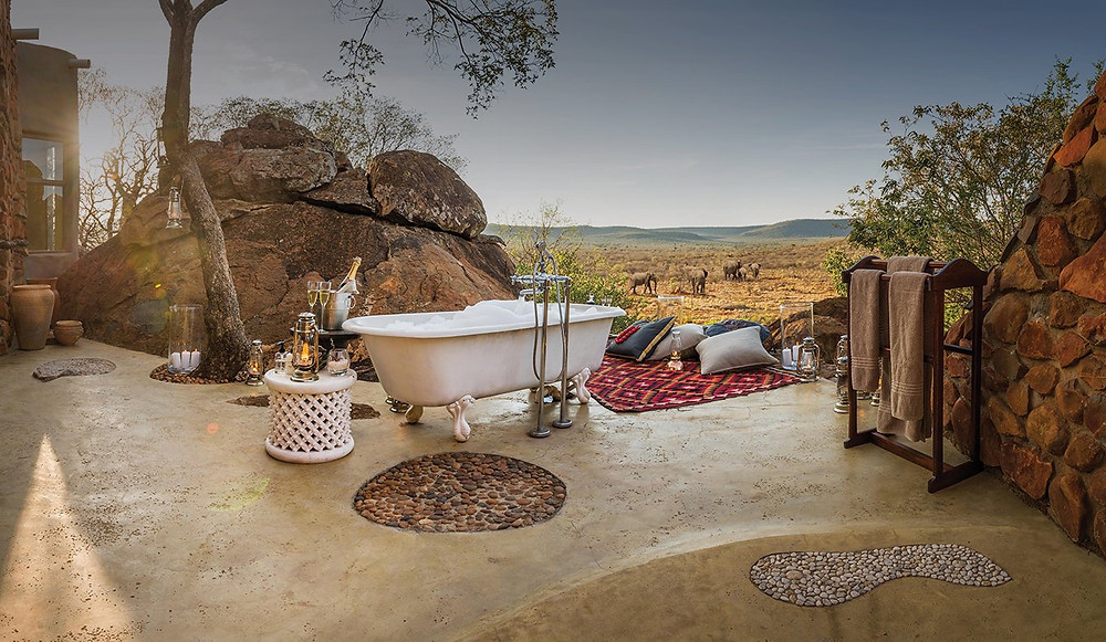 At Madikwe Hills Game Reserve in South Africa you can soak and safari at the same time
