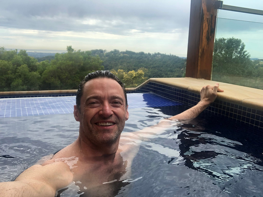 A-list hotels:  Hugh Jackman relaxing in his co-owned wellness resort, Gwinganna