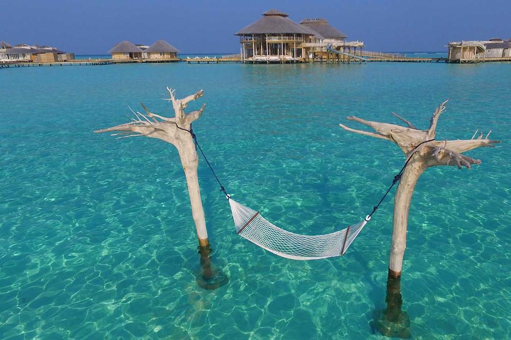 The stunning overwater hammock at Soneva Jani, Maldives