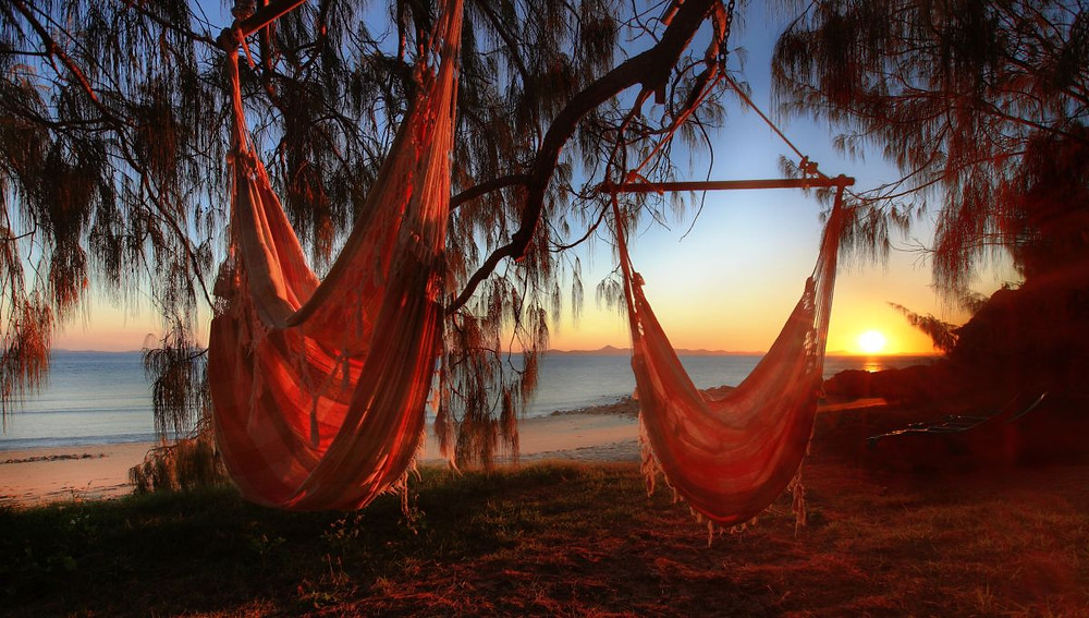 Queensland's private Pumpkin Island offers seven eco cabins with a beach hammock each