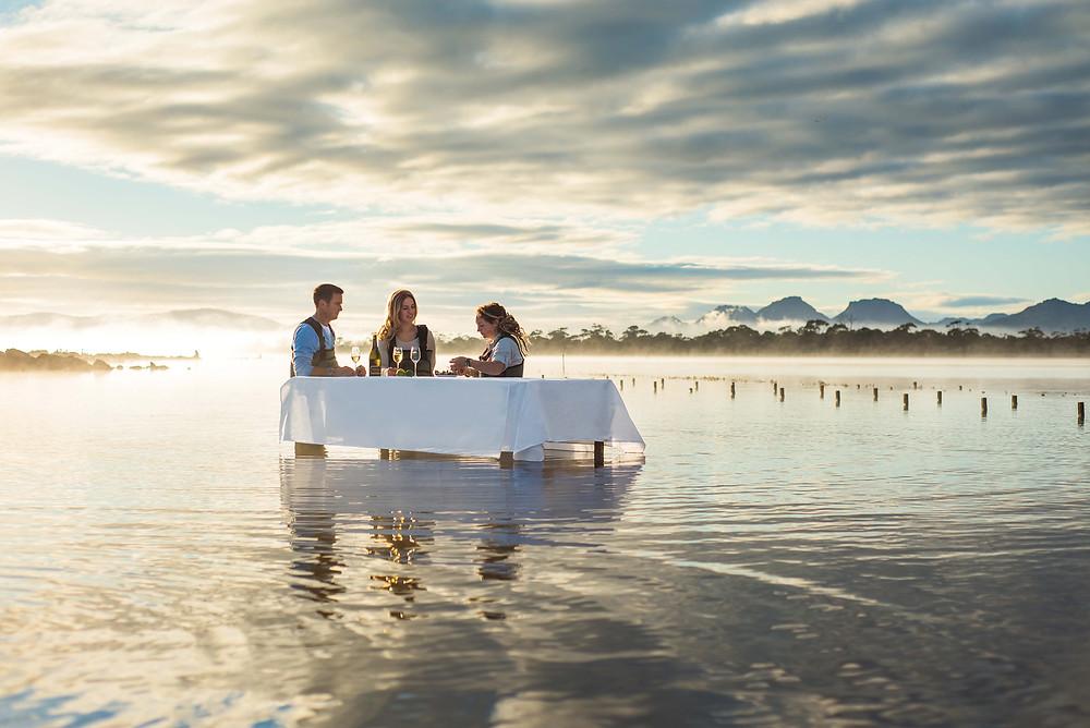 Saffire's signature 'white tablecloth' oyster tasting at Freycinet Marine Farm