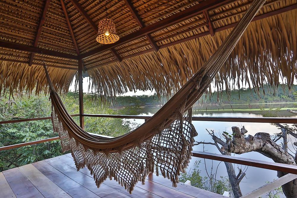 Brazil's Juma Amazon Lodge hammocks look out onto the Amazon River