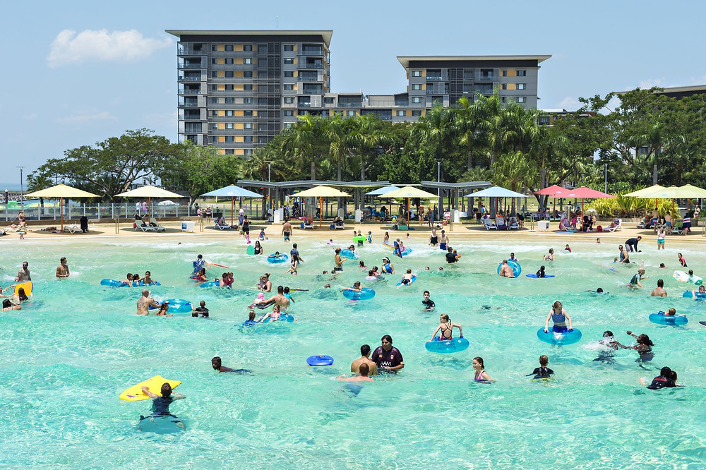 Cool off in either the wave-pool or saltwater lagoon within Darwin's Waterfront Precinct