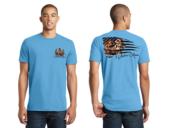 3 Sisters Rum Flag T-Shirt - Aquatic Blue