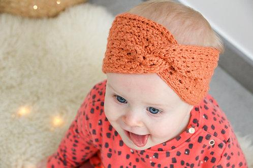 Haarband 'twist'oranje-bruin