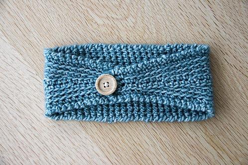 Haarband grijs-blauw met knoop