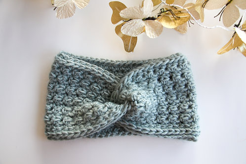 Haarband 'twist' blauw-grijs