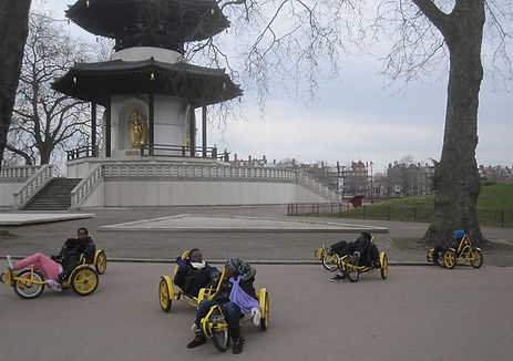 Refugees having fun in Battersea Park