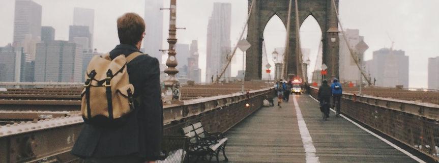 Background: Man on bridge