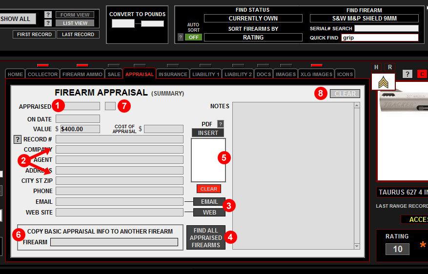 Firearms Appraisal Tab