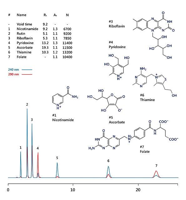 HPLC analysis of water-soluble vitamins: ascorbic acid (vitamin C), thiamine (vitamin B1), riboflavin (vitamin B2), nicotinamide (vitamin B3), pyridoxine (vitamin B6), folic acid (vitamin B9) and rutin (vitamin PP) IBSnutri BV-1.1 HPLC column IBS