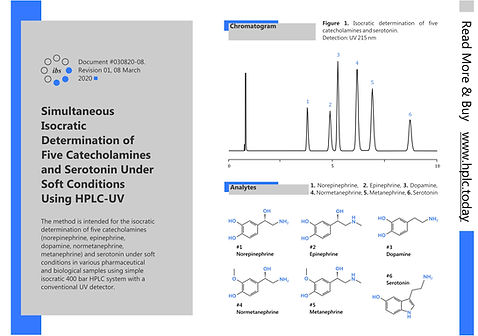 Outsourcing HPLC Method Analysis Development Catecholamines Coresep Column Helix Norepinephrine,  Epinephrine,  Dopamine, Normetanephrine, Metanephrine Serotonin Agilent Shimadzu Waters Thermo