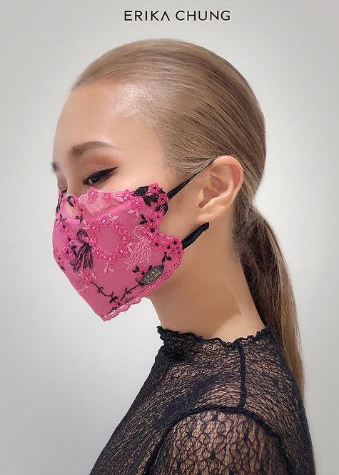 法式睫毛蕾絲真絲口罩-桃