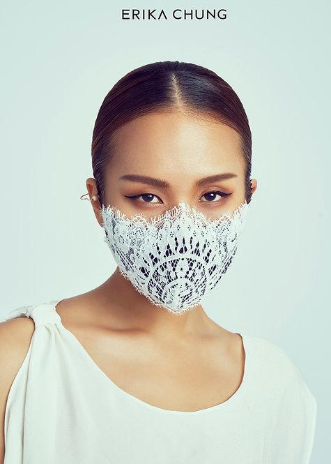 法式睫毛蕾絲真絲口罩-華麗宮廷巴洛克白