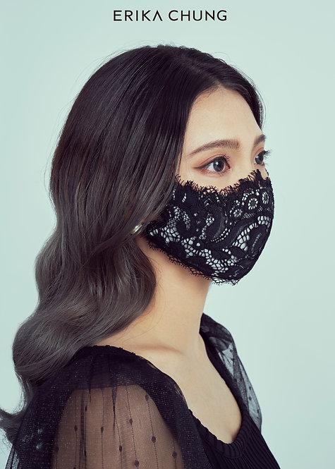 法式睫毛蕾絲真絲口罩-千禧花園圓舞曲黑