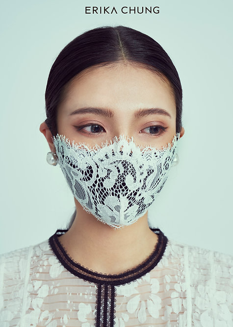 法式睫毛蕾絲真絲口罩-千禧花園圓舞曲白