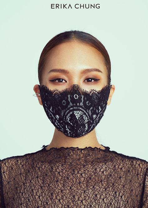 法式睫毛蕾絲真絲口罩-華麗宮廷巴洛克黑