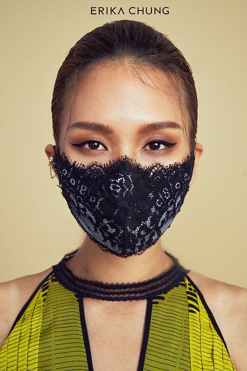 法式睫毛蕾絲真絲口罩-普蘿旺斯古典玫瑰-黑