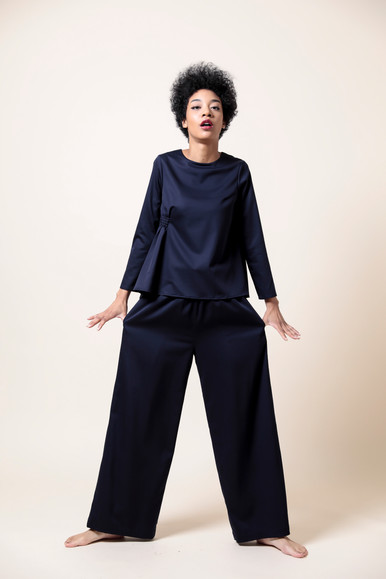 side shirring blouse  MG BL-1784-S 18,000 yen   west shirring pants  MG PT-1785-S 18,000 yen