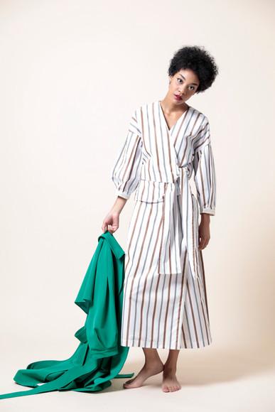 stripe kashukuru blouse  MG BL-1792-S 18,000 yen   stripe wrap skirts  MG SK-1793-S 19,000 yen