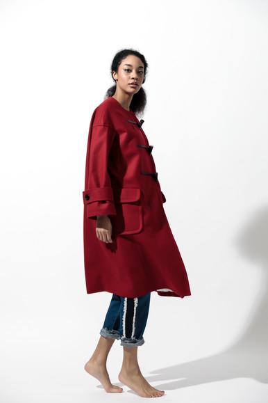 flannel duffle coat  MG CO-1766-A 49,000 yen   side fringe denim PT  MG PT-1779-A 19,000 yen