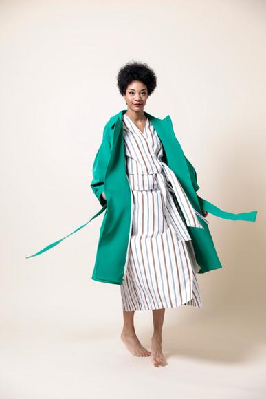 nylon trench coat  MG CO-1780-S 45,000 yen   stripe kashukuru blouse  MG BL-1792-S 18,000 yen   stripe wrap skirts  MG SK-1793-S 19,000 yen