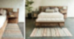 Recamara con tapete artesanal, base de cama de madera, tonos naturales
