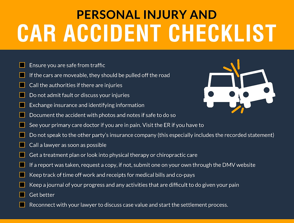 Personal Injury and Car Accident Checklist