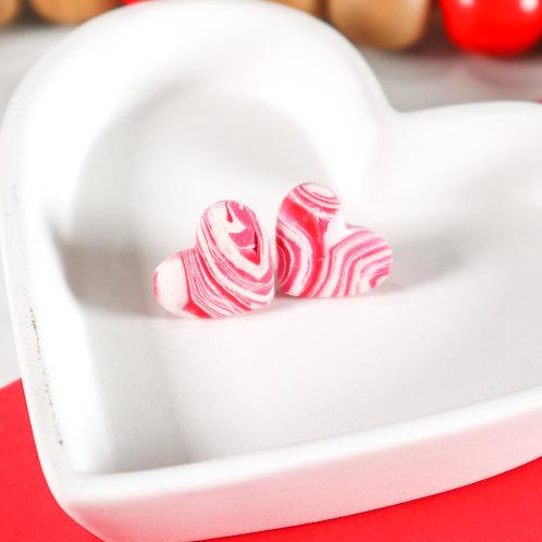 Pink & White Swirl Heart Studs (2 pairs)