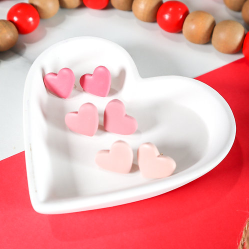 Pink Heart Studs (3 pairs)