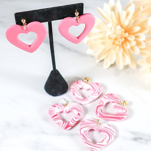Pink Heart Dangle Earring