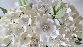 DIY BRIDAL PAPER FLOWER BOUQUET USING CRYSTAL ACCENTS