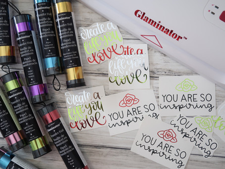 Christmas note cards with the Glaminator