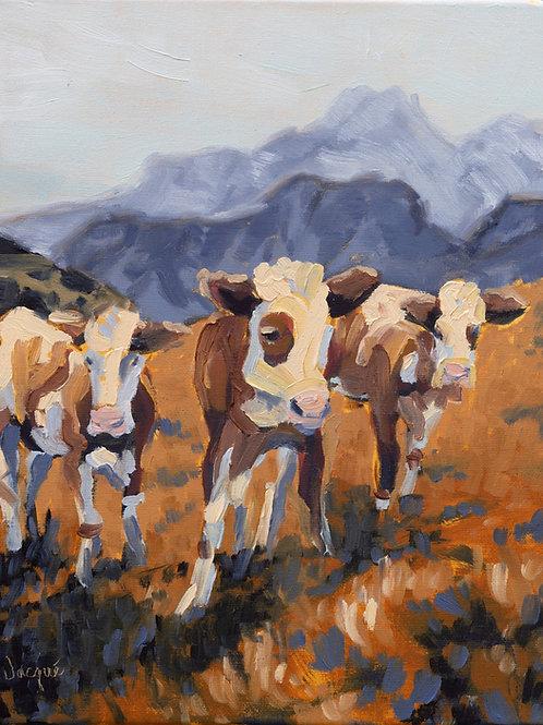 Three Cows Original Oil Painting