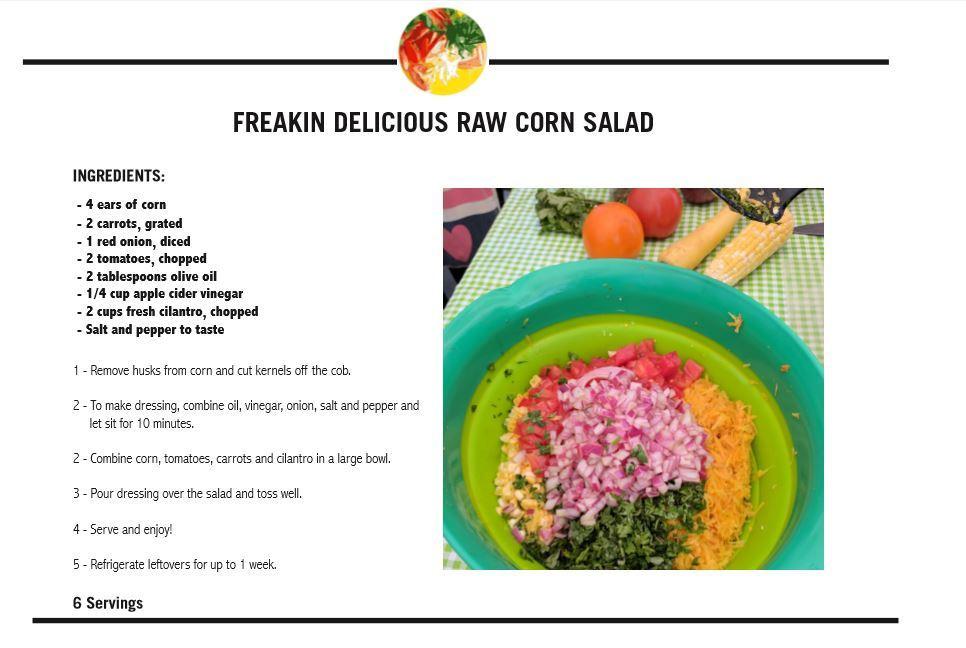 raw corn recipe