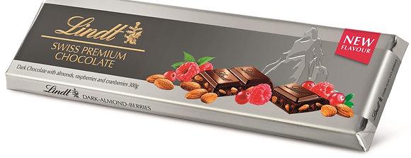 לינדט שוקולד מריר עם שקדים,פטל ואוכמניות