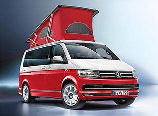 Red and White two tone VW California