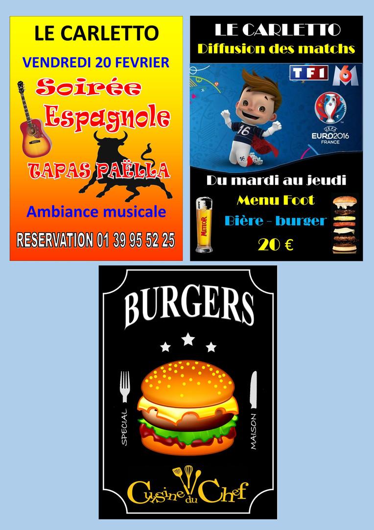 Affiches soirée et burgers