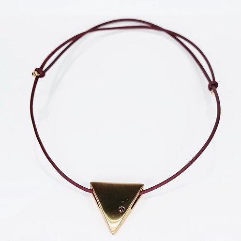 Colar Couro Ajustável Triangulo