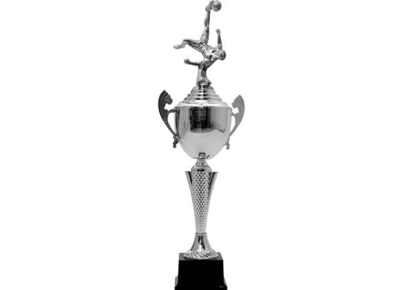 """גביע כדורגל סגור 55 ס""""מ דמות כסף"""