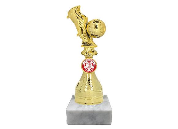 """גביע נעל וכדור כדורגל מלא על מוט גובה 22 ס""""מ"""