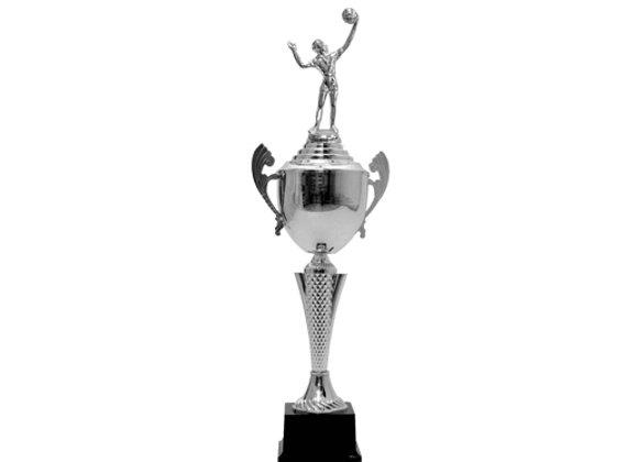 """גביע כדורשת/כדורעף סגור 58 ס""""מ דמות כסף"""