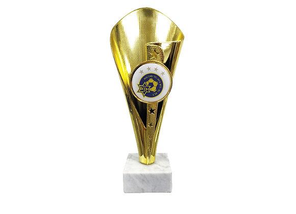 מגן כדורגל חרוט זהב עם לוגו גדול