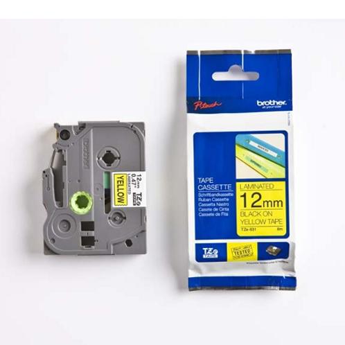 Tape 12mm sort/hvit lam TZ231 Brother Brother