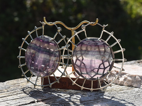 Nebula Hoops with Silver and Flourite