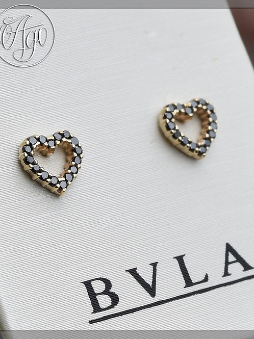 BVLA Solid Yellow Gold Micro Pave Hearts