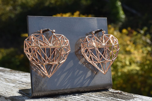 Caged Heart Earrings in Rose Gold
