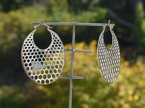 Honeycomb Hoops in Silver