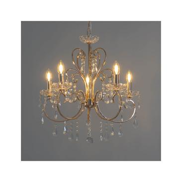 lustre cristal dore fin D56cm. 5 ampoules