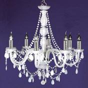 Lustre blanc 70cm baroque 8 ampoules